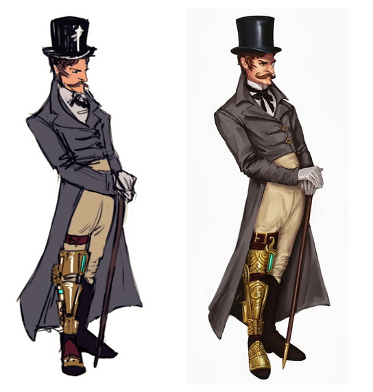 A sketch of Edwin and a final draft! We decided to make his leg piece - a result of a particularly violent brawl - a little more elegant. =D