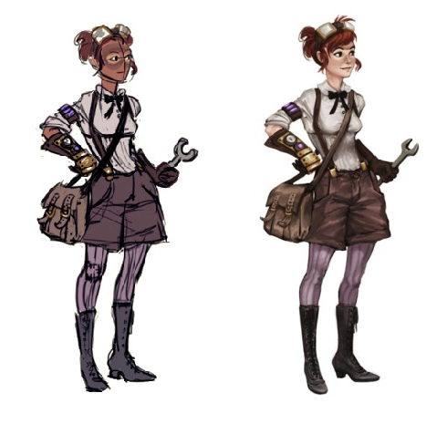 And the full body sketches, both the first draft and the final version. Doesn't she look awesome?