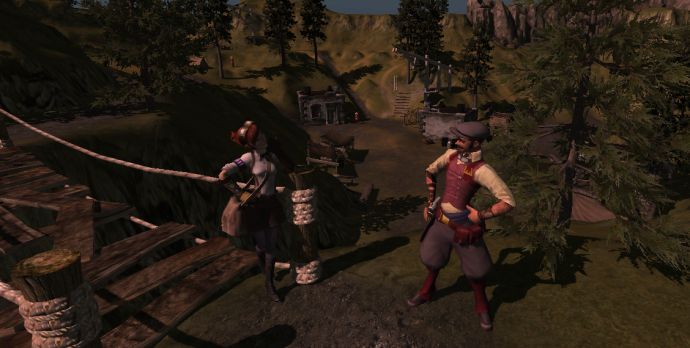 Our resident sky pirate shows off to the island's sole female mechanic, while she silently judges him.